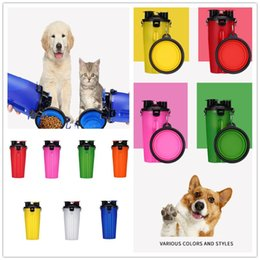 Portable dog drinking bottle online shopping - Dual use Portable Pet Cups Bowl Sets In Plastic Pet Colored Food Bottle Travel Bowl Dogs Cats Drink Water Outdoor Puppy Supplier C71901
