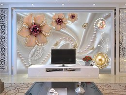 large flower backdrop UK - Custom wallpaper 3D large mural wallpaper jewelry flowers wallpaper living room bedroom backdrop papel de parede 3d