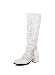solid plastic blocks NZ - YMECHIC Summer 2019 Blue White Glitter Bling Lace Mesh Knee High Riding Boots Sandal High Block Heels Womens Shoes Plus Size