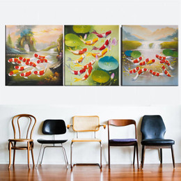 paintings koi Australia - Canvas Home Decor Print Poster Koi Fish Golden Lotus Chinese Pictures Cyprinus Carpio Feng Shui Painting Wall Art