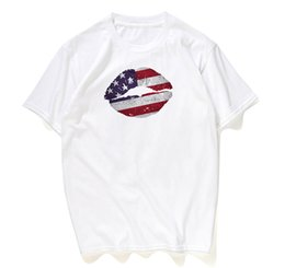 t shirts pattern designs UK - Women's Short Sleeve T-Shirt American Independence Day Digital Pattern Print Design Casual Short Sleeve Women's T-Shirt Wholesale