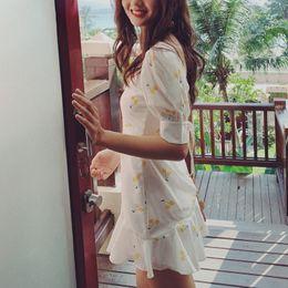 $enCountryForm.capitalKeyWord Australia - Vintage Boho Summer Dress Yellow Cherry Print Dress Women Square Collar Lace Up Party Dress Elegant Korean Clothes 2019 Vestidos