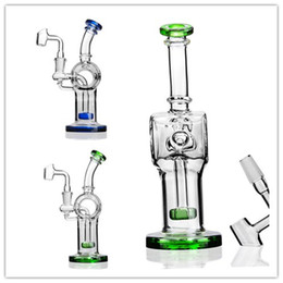 bent neck glass water pipe NZ - Bent Neck Bong Showerhead Prec Glass Water Bongs Dab Rigs Percolater Dab Rig Pipe Recycler 14mm Stem Banger