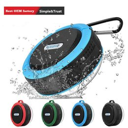 wholesale mini suction cups Australia - Bluetooth Speaker C6 IPX7 Outdoor Sports Portable Waterproof Wireless Suction Cup Handsfre Stereo Player for IOS Android Device