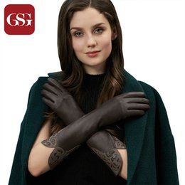 Opera Long Leather Gloves NZ - GSG Women Long Leather Gloves s Fashion Patched Ladies Driving Gloves Winter Warm Elbow Opera Long
