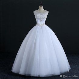 $enCountryForm.capitalKeyWord Australia - White Ivory Floor Length Tulle Applique Beads Wedding Dress Bridal Gown Custom Plus Size lace Up Back For Wedding Formal Occasion