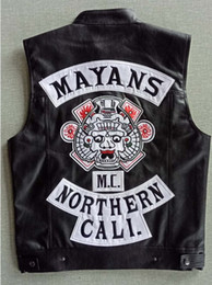 Wholesale leather vest men motorcycle for sale - Group buy Mayans MC Motorcycle Punk Locomotive PU Leather Black Vest Men Fashion Clothing Black Coat