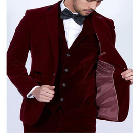 red tuxedos NZ - Wine Red Velvet Men Suits 3Pieces(Jacket+Pant+Vest) Tuxedos Fashion Costume Homme Terno Slim Fit Wedding Party Prom Mens Suit