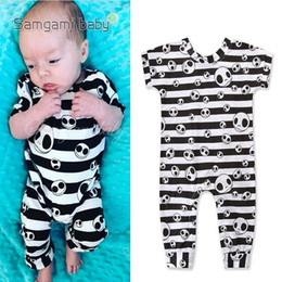 Skull clotheS kidS girlS online shopping - Newborn Baby Cartoon Jumpsuit Halloween Theme Striped Skull Romper Kids Designer Clothing Boy Bodysuit Baby Girls Short Sleeve Onesies