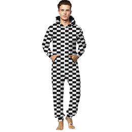 large canvas prints black white NZ - Autumn Men's Onesie Christmas Europe And America Large Size Digital Printing Black And White Lattices Hooded onesies