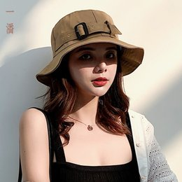 1211b02067a58 2019 spring and summer hat female Korean version of the creative belt  buckle fisherman hat folding college wind sunshade hat tide