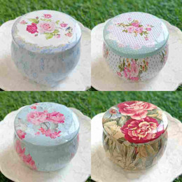 Tea Tins Free Shipping Australia - Portable Drum shaped tin boxes flower tea container cans for party gifts package 100pcs lot wholesale free shipping
