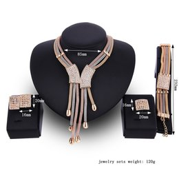 $enCountryForm.capitalKeyWord NZ - United States new high-end diamond necklace earrings set collar jewelry diamond earring and necklace fashion Statement Jewelry