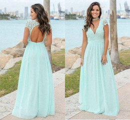 Discount beach wedding dresses short deep v - Sexy Beach Deep V neck Keyhole Back Bridesmaid Dresses Empire Short Sleeves Lace Empire Long Cheap Wedding Party Prom Br