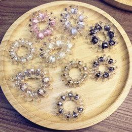 ponies pearls Canada - New 10 Colors Hair Coil Telephone Wire Coil with pearl Gum Elastic Band Girls Hair Tie Rubber Pony Tail Holder Bracelet Stretchy Scrunchies
