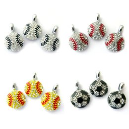 Wholesale Rhinestone Crystal Sports Ball Softball Basketball Baseball Football Volleyball Rugby Hang Pendant Charms Fit DIY Phone Strips Necklace