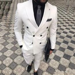 Three Piece Suit White Slim NZ - Latest Designs White Men Suits Wedding Tuxedo Groom Wear Slim Fit Ternos 2 Pieces (Jacket+Pants) Bridegroom Blazer Costume Homme Best Man