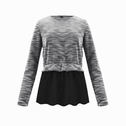 44d706aef Women Blouse Long Sleeve Slim Fit Crew Neck Ruffles Falbala Top Autumn Knitted  Shirt Jumper Pullover Casual Knit Sweater