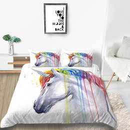 orange bedding sets double Australia - Unicorn Bedding Set Single Fantasy Artistic White Duvet Cover Queen Size King Single Double Twin Full Soft Bed Cover with Pillowcase