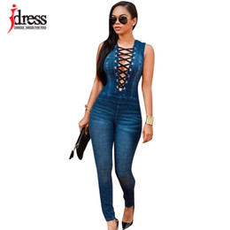 plus size sexy lace club jumpsuits UK - Idress Plus Size Summer Women Party Slim Jeans Combinaison Deep V Neck Lace Up Rompers Female Sexy Club Overalls Denim Jumpsuit Y19060501