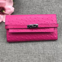 Brand Bags ostrich leather online shopping - 2019 brand Ostrich woman Long Wallets Card holders Purse Passport Bags fashion Genuine leather For lady