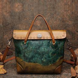 Ladies Briefcase Handbags Australia - 2019 Fashion Top-handle Handbag Women Briefcase Handmade Retro Shoulder Bags 2018 Latest Lady Messenger Crossbody Bag Leather Tote Female