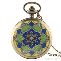 Antique Round Clock UK - Retro Colorful Flower Design Quartz Pocket Watch with Necklace Chain Full Hunter Pendant Item for Girl Women Bronze Clock Gift Beauty Lady
