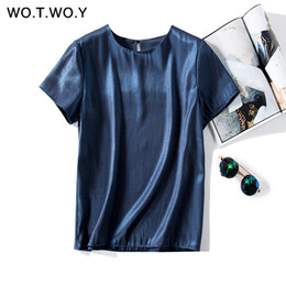 $enCountryForm.capitalKeyWord NZ - Wotwoy Basic Button Bright Woven T-shirts Female Summer Casual Slim Cotton Short Sleeve Tee Shirt Woman Yellow White O-neck Tops Q190508