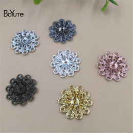stamp accessories NZ - BoYuTe Wholesale (50 Pieces Lot) Metal Brass Stamping 16MM Filigree Flower Combined Bead Caps Diy Handmade Jewelry Accessories