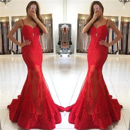 Backless Lace Light Yellow Dress Australia - 2019 Plus Size Sweetheart Red Lace Evening Dresses Long Mermaid Spaghetti Straps Backless Prom Party Gowns for Holidays Vestidos De Novia