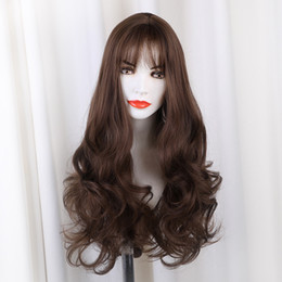 Women Beautiful Hair Australia - new Fashion DIY Natural Wave Wigs for Women Middle Part Heat Resistant Brown Gray Silver Cosplay Wig hair styling beautiful hot