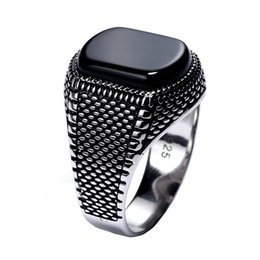 Chinese  Turkey Jewelry Black Ring Men Light-weight 6g Real 925 Sterling Silver Mens Rings Natural Onyx Stone Vintage Cool Fashion C19041101 manufacturers