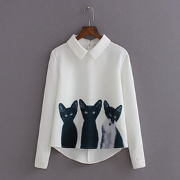 cats blouse Canada - Cat Printed Long Mouths Women Blouses White Black Women's Casual Shirt Tops Back Zipper Blouse
