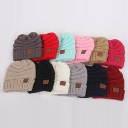 Kids Derby Hats NZ - Kids Winter Warm Hat Knitted CC Hat Label Children Simple Chunky Stretchable kids Knitted Beanies Baby Hat Beanie Skully Hats 14 color 20pcs
