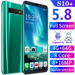 2020 heiße verkaufende s10 + entriegelte 8 + 16MP 8 Core-Dual-SIM-Echt Smart-Phone 5.8 '' Android 8.0 Handy 4G + 64G im Angebot