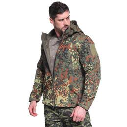 Skin Jacket Brown UK - Camouflage Shark Skin Outdoor Assault Jacket Clothing Camouflage Hooded Hunting Jacket Mountaineering Clothing