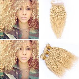 $enCountryForm.capitalKeyWord Australia - Kinky Curly Peruvian Virgin Human Hair Bleach Blonde Weaves with Closure #613 Blonde Curly Hair Bundles with 4x4 Front Lace Closure 4Pcs Lot