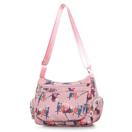 China Cloth Shoulder Bag Floral and Bird Crossbody Bag for Women Light Nylon More Zippers Messenger Rural style Casual Hobos #187333 supplier cloth hobo bags suppliers