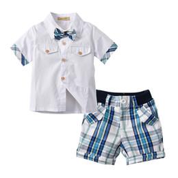 217aebd29a8b2 Kid Boy Clothes Set Formal Summer Infant Clothing Set for Boys Shirt +  Plaid Pants Gentleman Short Outfits Tie Children Wedding