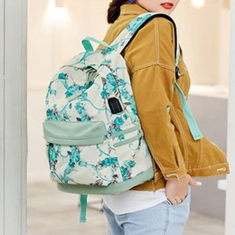 casual canvas women backpack red NZ - Women Flower Printed Canvas Backpack USB Charging Port Casual Rucksack Large Capacity Dackpack for Teenage Girls School Bookbag