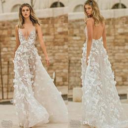 Bohemian short wedding dress online shopping - Berta Wedding Dresses Lace D Floral Appliqued V Neck Backless Bridal Gowns Illusion A Line Bohemian Wedding Dress