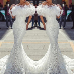 Vintage Inspired Cocktail Dresses Australia - 2019 White Feather Prom Dresses Sexy Off The Shoulder Mermaid Evening Dress Vintage Lace Fishtail Cocktail Party Dress Custom Made