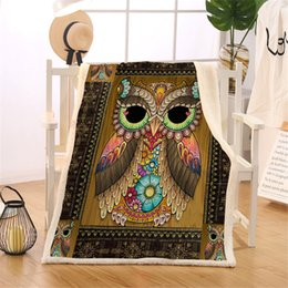adult owl bedding 2019 - Owl Sherpa Blanket On Sofa Bed Aztec Geometric Throw Blanket Brown Bird Vintage Bedspreads Floral Thin Quilt Manta cheap