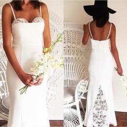$enCountryForm.capitalKeyWord Australia - Simple Lace Backless Wedding Dresses Spaghetti Strap Floor Length Boho Mermaid Bridal Gown Cheap Satin Wedding Gowns