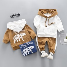 hoodies t shirt outfits NZ - Children Clothes print Bears hoodies Spring Toddler boy Clothes T-shirt+Pants 2pcs Sport Outfits Kids Clothes Suit For Boys Clothing Sets