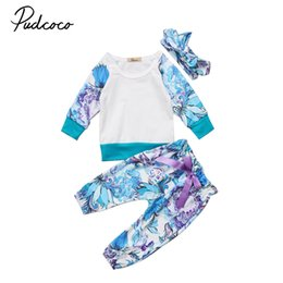 kids floral leggings Canada - New Casual Kids Newborn Baby Girl Clothes Set T-shirt Floral Clothes Leggings Long Pants Outfits 0-24M