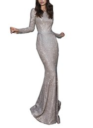 China Sparkly Bling Jewel Mermaid Evening Dresses Elegant Beautiful Sequins Beaded Long Sleeves Backless Custom Made Formal Evening Gowns cheap beautiful elegant evening gowns suppliers
