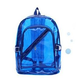 Discount clear color backpack Bycobecy New Fashion Men And Women Students Jelly Transparent Backpack Bag Plastic Candy Color Bag Backpack Travel For M