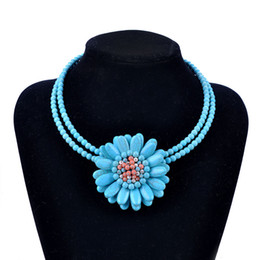 $enCountryForm.capitalKeyWord NZ - Handmade Turquoise Big Flower Necklace Fashion Women Stone Beaded Choker Necklaces Black Blue White Color Charm Jewelry Gifts