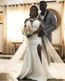 White Side See Through Dresses NZ - African White Mermaid Wedding Dresses Sheer Neck See Through Long Sleeve Side Split Appliques Plus Size Garden Country Bridal Gowns 2019